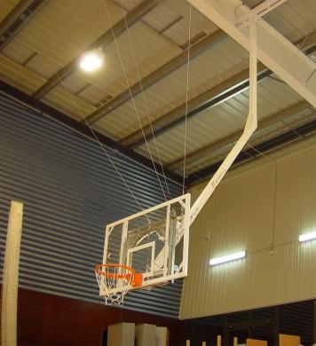 Single post ceiling hung Basketball goal